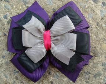 Dark purple grey black and shocking pink Hair Bow large pinwheel hair bow large stacked hair bow
