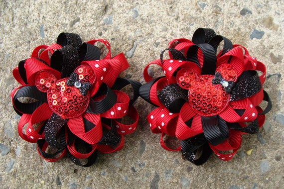 Mickey Mouse Hair Bow Minnie Mouse Hair Bow Loopy Flower Hair Bow