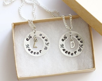 No Matter Where Necklaces Set, Personalized Gifts, Hand Stamped Necklace, Initial Necklace, Friendship Gift, Distance Friendship Necklace