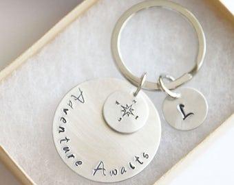 Adventure Awaits Keychain, Personalized Adventure Awaits, Inspirational Keychain, Compass Keychain, Travel Keychain, Graduation Gift