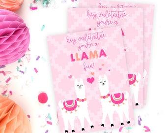 Llama Valentines Printable Cards   INSTANT DOWNLOAD