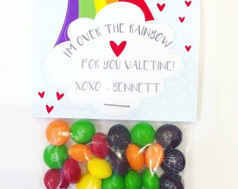 Rainbow Skittles Valentines Printable Cards   INSTANT DOWNLOAD