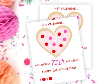 Pizza Valentines Printable Cards   INSTANT DOWNLOAD