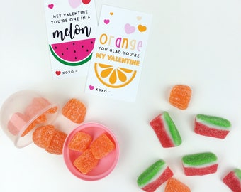 One in a Melon Valentines Printable Cards   INSTANT DOWNLOAD