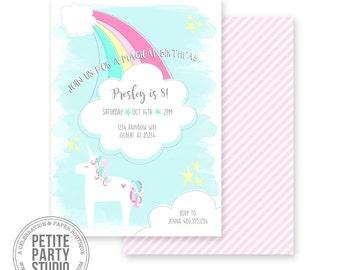Rainbow Unicorn Printable Party Invitation - Birthday or Baby Shower - Petite Party Studio