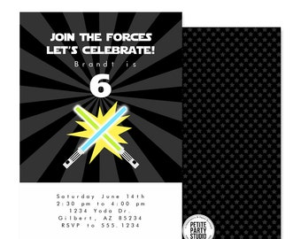 Star Wars Theme Birthday Party Printable Invitation - Petite Party Studio