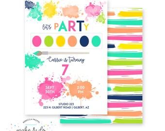 Rainbow Art Paint Party Printable Birthday Invitation