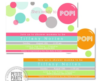 Ready to Pop Baby Shower Printable Party Invitation - Petite Party Studio