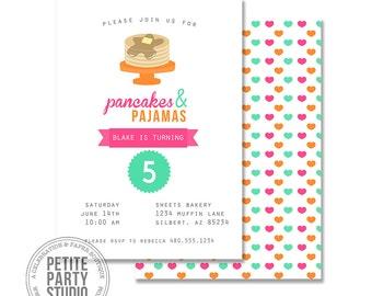 Pancakes and Pajamas Printable Birthday Party or Baby Shower Invitation - Petite Party Studio