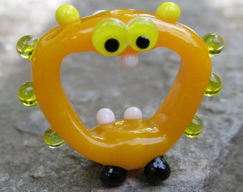 Yellow Screaming Alien Lampwork Glass Handmade SRA Artisan Bead NLC Beads