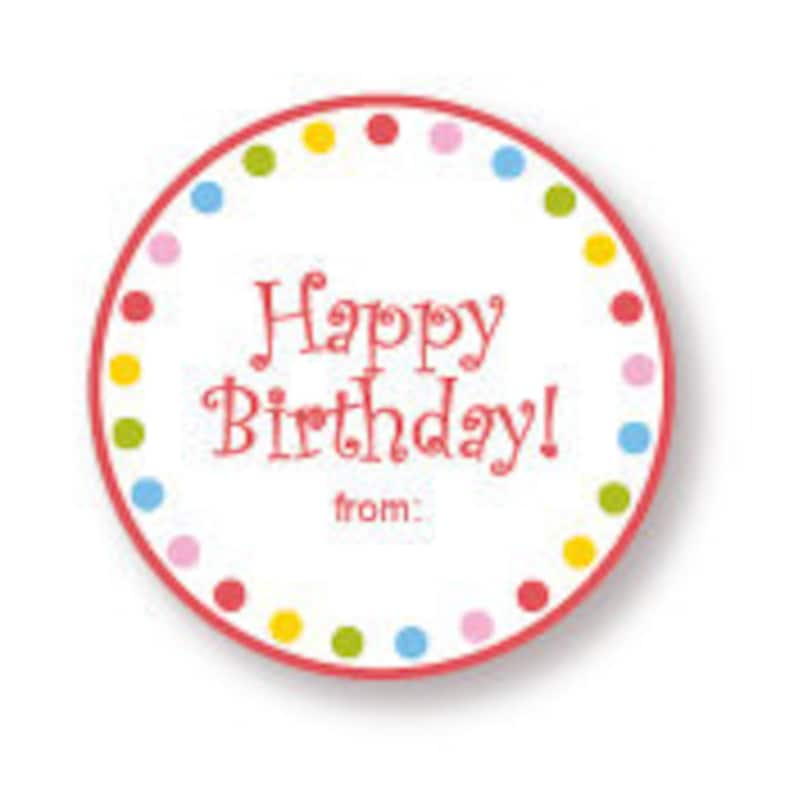 Happy Birthday Gift Labels Red with Multi Dot Border image 0