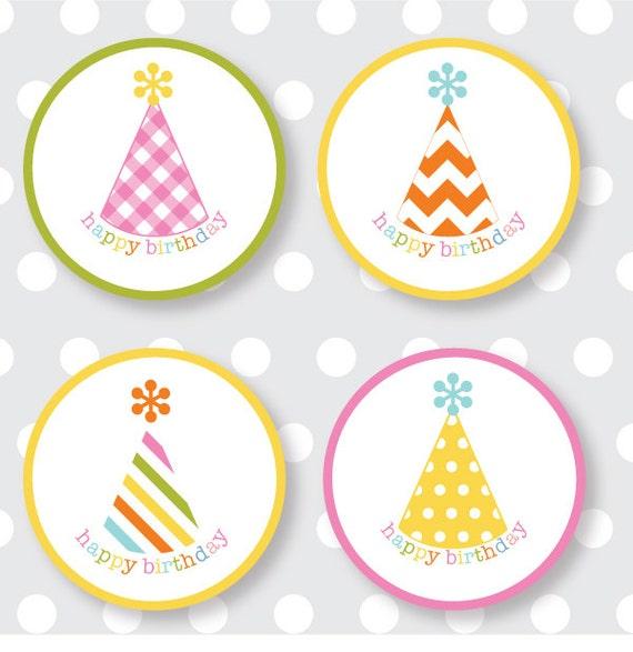 happy birthday labels multicolor etsy