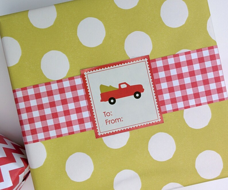 Red Truck Christmas Labels image 0