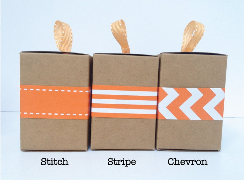 Narrow Orange Paper Ribbon in Pattern of Your Choice image 0