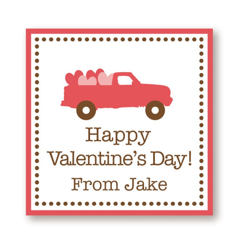 Customized Valentine Truck Labels image 0