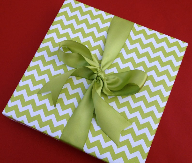Green Chevron Premium Wrapping Paper image 0