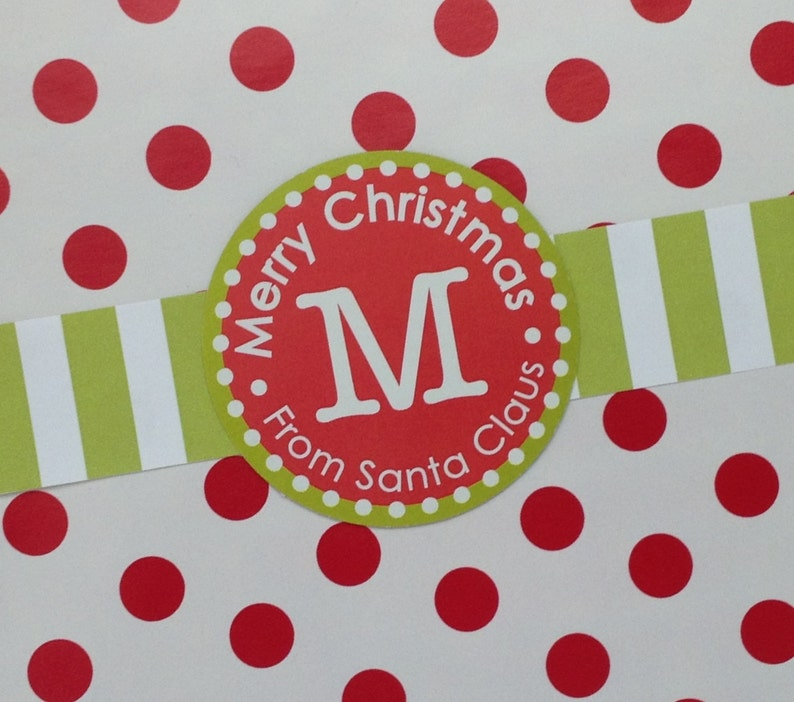 Customized Red and Green Christmas label image 0