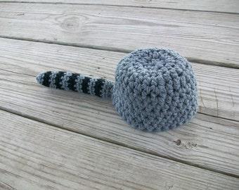 Crocheted  Coon Skin Cap Raccoon Hat f78081307bc