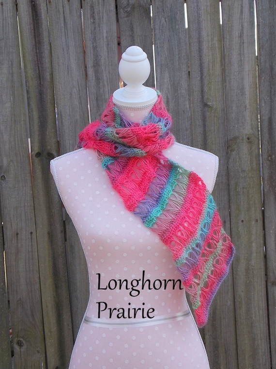 Broomstick Lace Scarf Crochet Pattern Pdf Instant Download Etsy