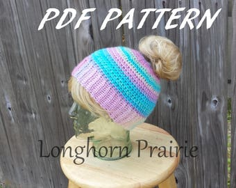 Unforgettable Messy Bun Hat crochet PATTERN pdf (instant download)