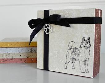Akita ~ Akita Coaster Set ~ Akita Gift ~ Housewarming Gift ~ Hostess Gift ~ Dog Breed Gift ~ Stone Coaster Set ~ Akita Dad ~ Dog Coaster
