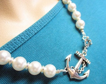 Large Anchor Pearl Necklace, Anchor Necklace Jewelry, Nautical Pearl Necklace, Silver Anchor Necklace