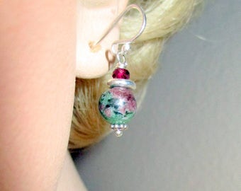 Ruby Zoisite Earrings, Dangle and Drop Earrings,  Mother's Day Gift, Gift for Her, Birthday Gift