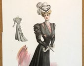 Original 1905 fashion plate from L 39 Art de la Mode, color lithograph