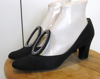 9e31ca57ea Stylish late 1960s black satin & rhinestone evening shoes by Andrew Geller,  size 8