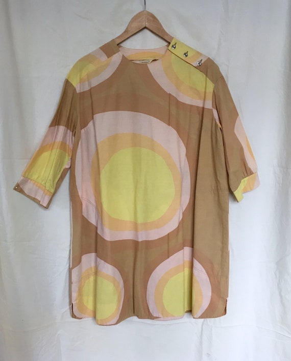 Vintage mod 1960s Marimekko, Finland pop art dress