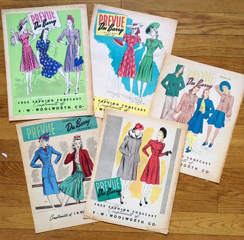 Lot of five early 1940s Prevue Du Barry Fashions sewing pattern flyers,  1940 & 1942, very good condition, great reference