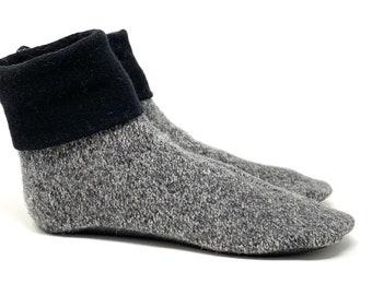 Soft Sole Shoe Waldorf Ready to Ship Boy/'s Wool Slipper Socks Non Slip Bottoms,Machine Washable Fits Men/'s Size 6-8 Earth Tones