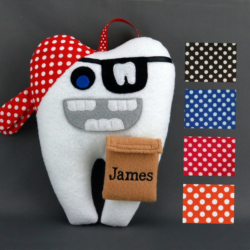 Tooth Fairy Pillow  Pirate can be Personalized  Pirate Tooth image 0