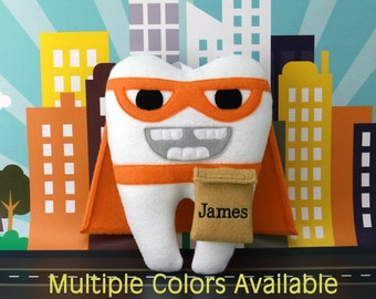 Superhero Tooth Fairy Pillow - Can be personalized - Multiple Colors Available (including pink)