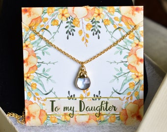 DAUGHTER GIFT NECKLACE Quartz Pendant Necklace Womens Gifts Accessories Birthday Pregnancy Wedding Bridal Daughter In Law Gift