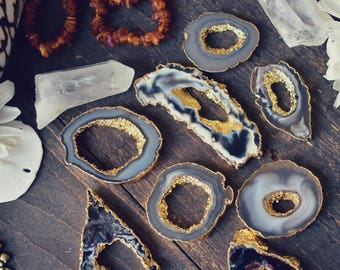 GEODE AGATE SLICES ///  24kt Gold Plated Pendant