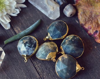 MOSS AGATE DROP ///  24kt Gold Plated Pendant
