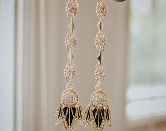 96f5ac7b2 TIGER LILY EARRINGS /// Black Enamel, Dangle Earrings, Cubic Zirconia, Boho  Jewelry, Gifts for her, Birthday Gift, Statement Earrings