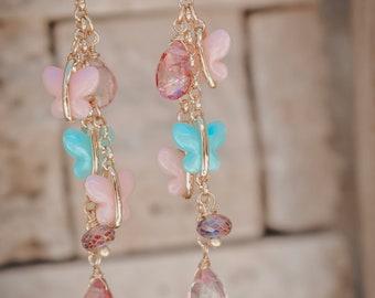07d537788 GEMMA DANGLE EARRINGS /// Statement Earrings, Hoop Earrings, Gold Hoops,  Butterflies, Gifts for her, Quartz, Women's Jewelry, Lux Divine