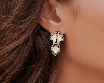 445462c39 SERENDIPITY STUDS /// White Enamel, Statement Earrings, Art Deco Jewelry, Lux  Divine, Women's Earrings, Gifts for her, Birthday Gift