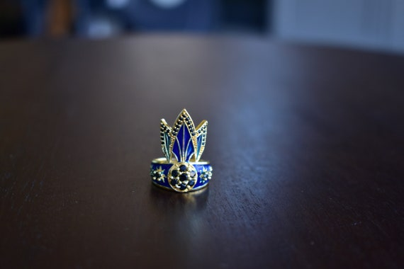 d0b138114 TIGER LILY RING /// Lapis Blue Enamel, Cubic Zirconia, Women's Jewelry,  Statement Ring, Women's Gift, Gift for her, Bohemian Jewelry