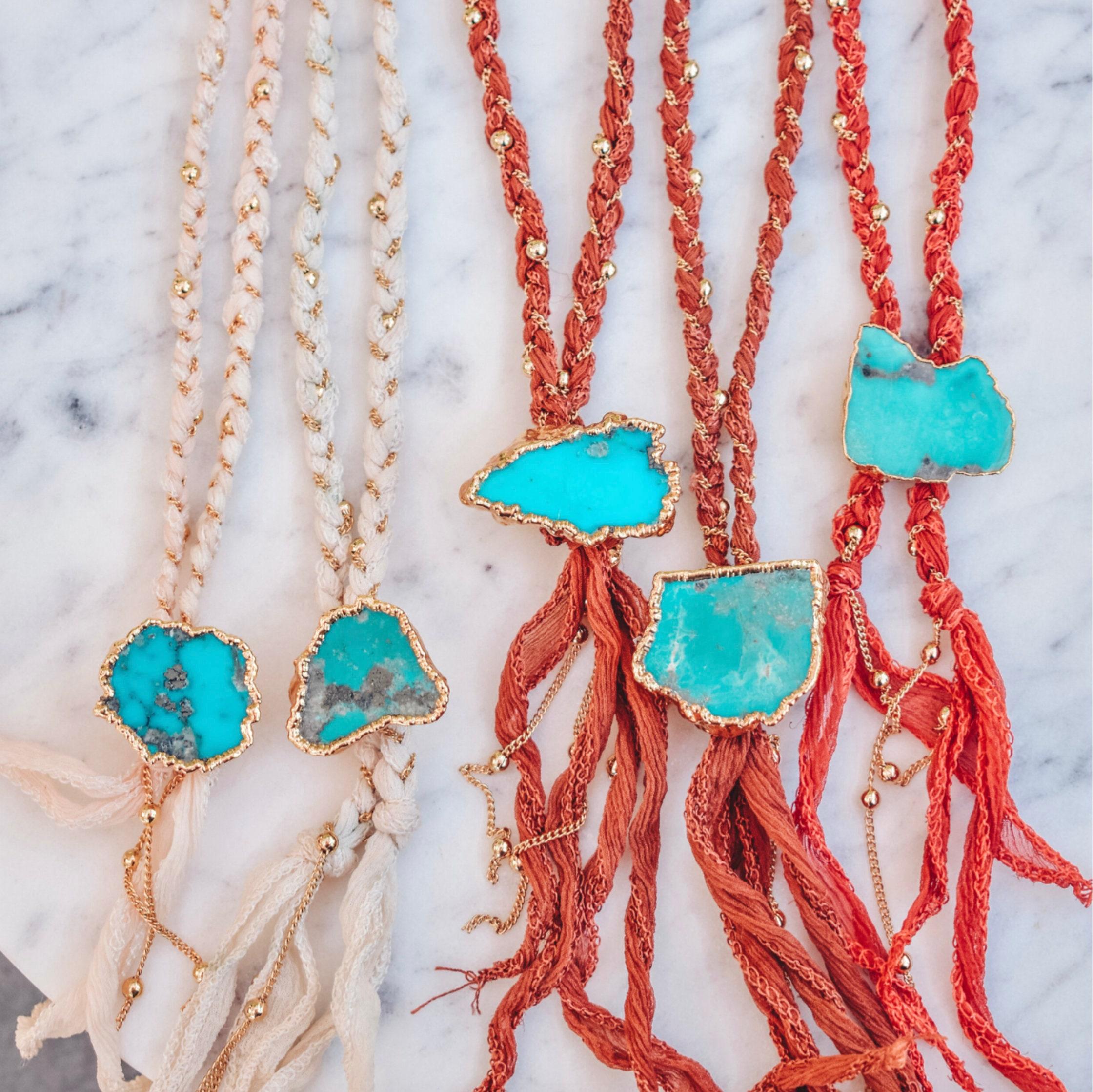 Necklace Gipsy coral brass gold filled 24k