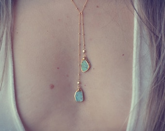 AQUA LARIAT /// Gold Turquoise Lariat Necklace