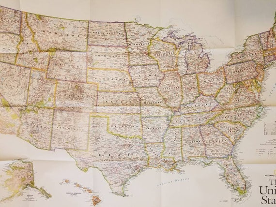 National Geographic United States Map Oct. 2006 | Etsy