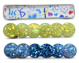 Down Syndrome hair clips, world down syndrome day, blue and yellow hair clips, down syndrome gifts, buddy walk
