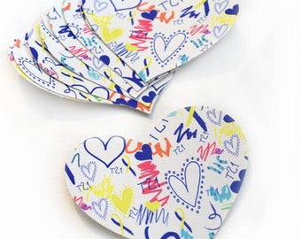 Stickers, Heart Stickers, Down Syndrome Stickers, Gifts For Aides, Gifts for Therapists, Down Syndrome Day, Awareness Stickers