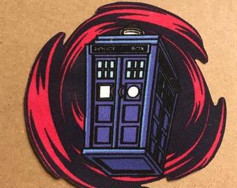 Doctor Who Tardis iron on appliqué