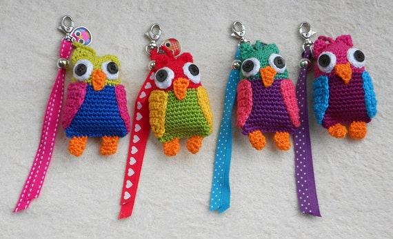 Crochet Pattern Key Chain Stork Owl Or Pony Haakpatroon Etsy