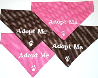 Clearance ADOPT ME **All SMALL Lot of 4 Pink & Brown Dot**  Get your Foster Dog noticed. Embroidered Slide On Dog Bandana