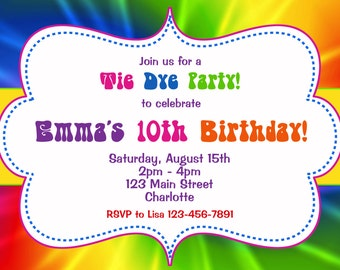 tie dye birthday party invitation tie dye birthday